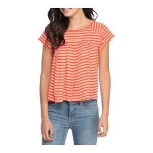 ✨HP✨Free People Stripped Orange Shirt 🍊